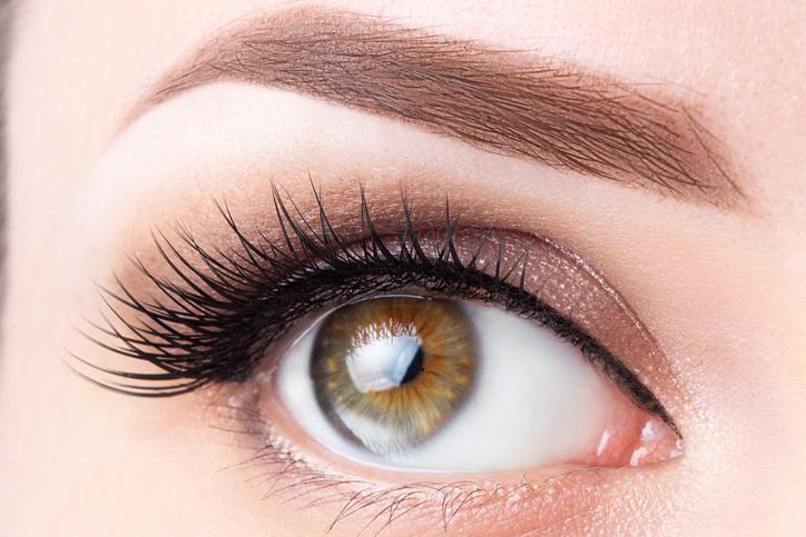 Eye with long eyelashes and light brown eyebrow close-up. Eyelashes lamination, microblading, tattoo, permanent, cosmetology, ophthalmology concept